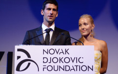 NEW YORK, NY - SEPTEMBER 10:  Founding Chairman Novak Djokovic and Executive Director of the Foundation Jelena Ristic speak on stage at the Novak Djokovic Foundation New York dinner at Capitale on September 10, 2013 in New York City.  (Photo by Dimitrios Kambouris/Getty Images for Novak Djokovic Foundation)