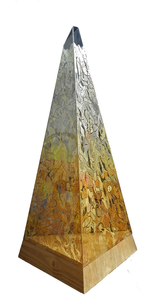 Lampa Piramida,60x60x60cm,h150cm,zlatna i srebrna nit na kristalnom staklu,unikat,rucni rad (5)